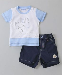 Wonderchild Striped Tee With Denim Shorts - Blue