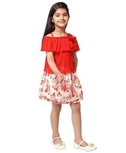 Tiny Baby Cut Shoulders Frill Top & Skirt Set - Red