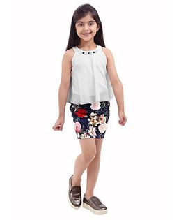Tiny Baby Top & Floral Skirt Set - Cream