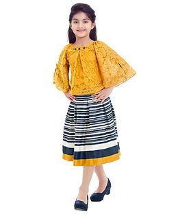 Tiny Baby Lace Top & Stripes Skirt Set - Orange