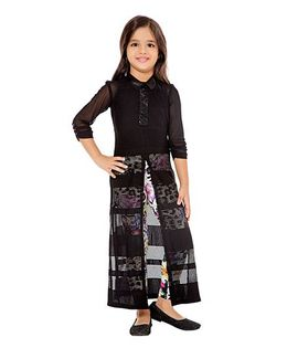 Tiny Baby Long Tunic & Printed Leggings Set - Black