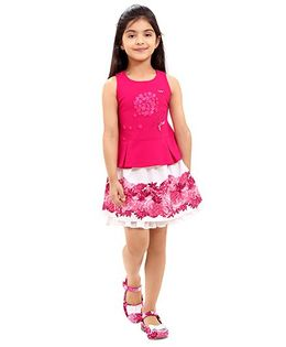Tiny Baby Top & Floral Print Skirt Set - Fuchsia