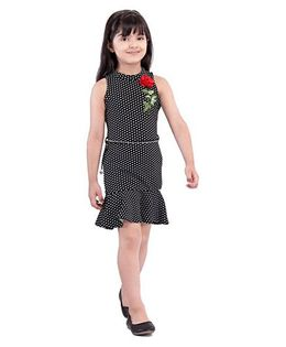 Tiny Baby Polka Dot Print Dress - Black