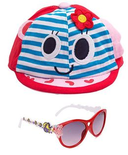 Kidofash Stripes Face Print Cap & Sunglasses Combo - Red
