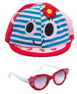 Kidofash Stripes Face Print Cap & Flower Sunglasses Combo - Red