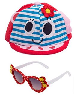 Kidofash Stripes Face Print Cap & Bow Sunglasses Combo - Red