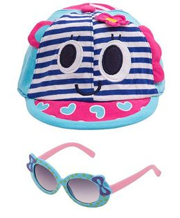 Kidofash Stripes Face Print Cap & Round Bow Sunglasses Combo - Blue