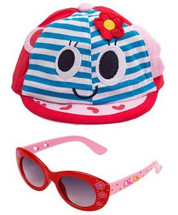 Kidofash Stripes Face Print Cap & Floral Sunglasses Combo - Red