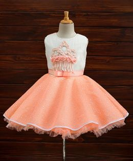 Maalka Sleeveless Crown Applique Dress - Peach