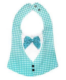 Little Hip Boutique Check Bow Bib - Sea Green