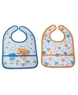 Little Hip Boutique Elephant Print Crumb Catcher Set - Orange & Blue