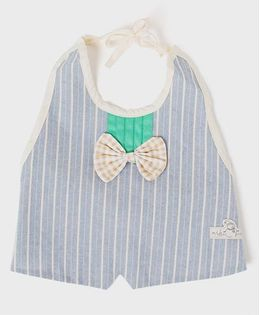 Little Hip Boutique Stipes Tie On Waterproof Bib - Blue