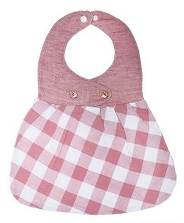Little Hip Boutique Check Frock Bib - Pink