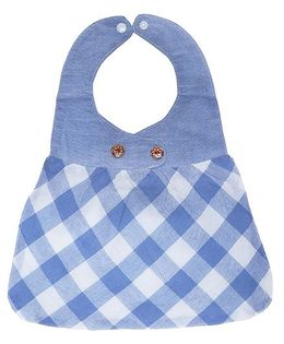 Little Hip Boutique Check Frock Bib - Blue
