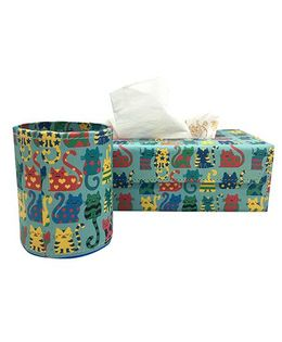 The Crazy Me Pen Stand & Tissue Box Set Kitty Print - Multi Colour