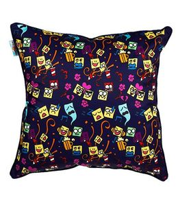 The Crazy Me Cushion Cover Emoji Stickons Print - Navy