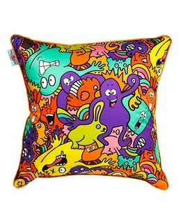 The Crazy Me Cushion Cover Mr Doodle Monster Print - Multi Color