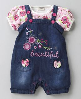 Wonderchild Floral Top & Dungaree Set - Dark Blue