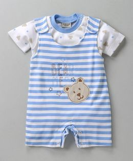 Wonderchild Bear Print Romper With Tee - Blue