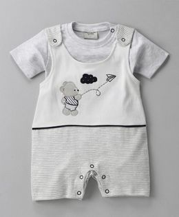 Wonderchild Teddy Print Romper With Tee - Grey