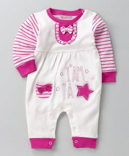 Wonderchild Full Sleeves Star Print Romper - Pink