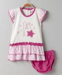 Wonderchild I Am A Star Print Dress With Bloomer - Pink