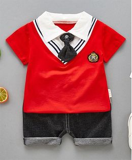 Pre Order - Superfie Collared Tee & Shorts Set - Red & Black