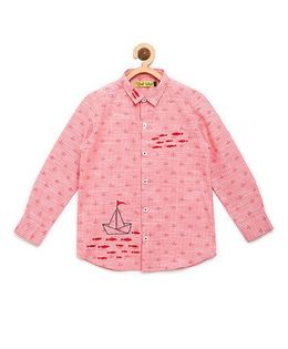 Tiber Taber Embroidered Ship And Fish Stripe Shirt - Pink