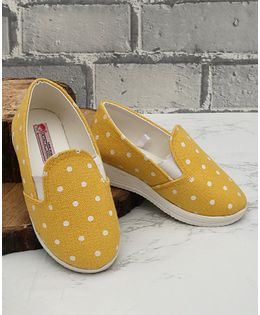 D'Chica Polka Dot Slip On Shoes - Yellow
