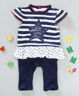 Luvena Fortuna I Am Your Little Star Printed Romper - White & Blue