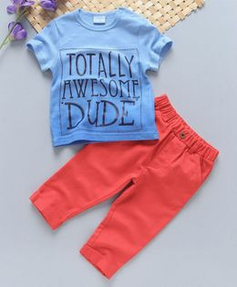 Luvena Fortuna Totally Awesome Dude Printed Tee & Bottom Set - Blue & Peach
