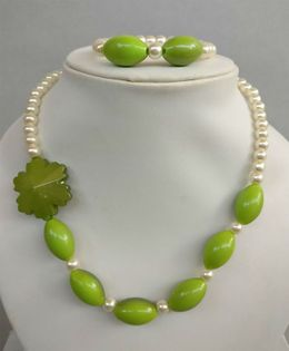 Tiny Closet Pearl Necklace & Bracelet Set - Green