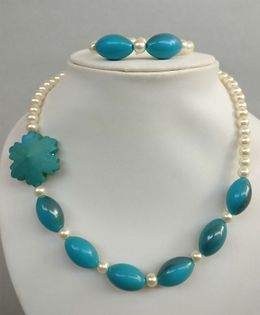 Tiny Closet Pearl Necklace & Bracelet Set - Blue