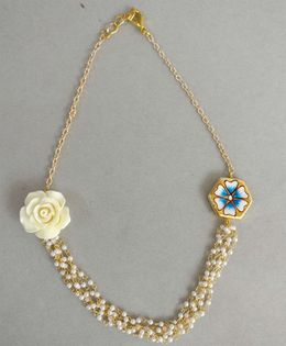 Tiny Closet Flower Applique Neck Piece - Golden