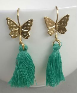 Tiny Closet Pair of Butterfly Earrings - Green
