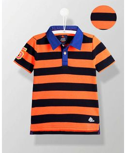 Cherry Crumble California Player Stripe Polo Tee - Orange & Black