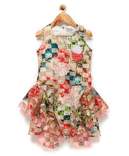Rose Couture Sleeveless Party Wear Flared Floral Printed Dress - Peach