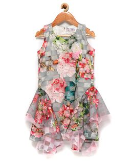 Rose Couture Sleeveless Party Wear Flared Floral Printed Dress - Pink