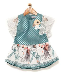 Rose Couture Short Sleeves Polka Dot & Floral Applique Top & Pleated Skirt Set - Green