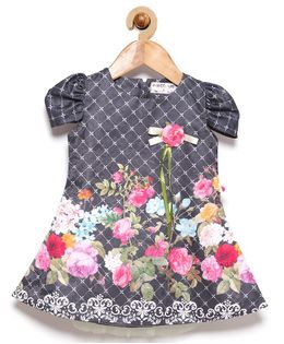 Rose Couture Short Sleeves Party Wear Floral Checks Print Dress - Grey