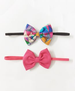 Knotty Ribbons Set Of Two Bow Headbands - Pink & Multicolour
