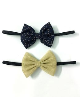 Knotty Ribbons Set Of Two Bow Headbands - Dark Blue & Golden