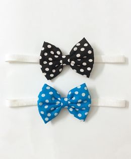 Knotty Ribbons Set Of Two Polka Dots Bow Headbands - Black & Light Blue