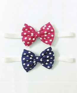 Knotty Ribbons Set Of Two Polka Dots Bow Headbands - Dark Blue & Dark Pink