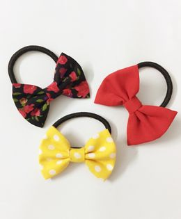Knotty Ribbons Set Of Three Mix Bow Hair Ties - Black Red & Yellow