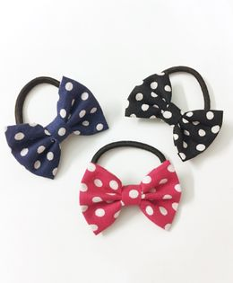 Knotty Ribbons Set Of Three Polka Dots Bow Hair Ties - Pink Blue & Black