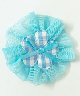 Knotty Ribbons Net Flower Applique Hair Clip - Light Blue