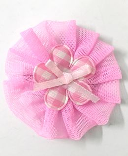 Knotty Ribbons Net Flower Applique Hair Clip - Light Pink