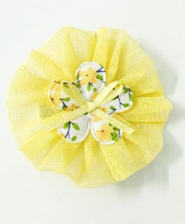 Knotty Ribbons Net Flower Applique Hair Clip - Yellow