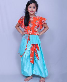 Varsha Showering Trends Top & Palazzo Set - Orange & Aqua Blue
